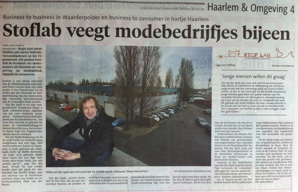 Interview Pieter van der Spek over StofLab Haarlem